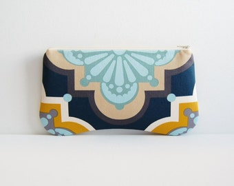 Zipper Pouch, Clutch Purse, Accessory Case, Organizer, Pressed Flowers in Teal, Anna Maria Horner Drawing Room