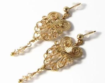Vintage Style 14k Gold Filled Earrings Swarovski Crystal Custom Colors Chandelier Wire Wrapped