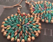 Turquoise and Copper Seed Bead Earrings - Big Bold Disc Earrings - Beadwork Jewelry - Statement Jewelry