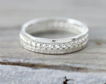 Set of 3 textured stacking rings - hammered, dotted and lined rings