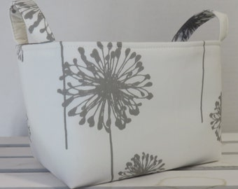 Fabric Organizer Storage Container Bin Basket Diaper Caddy Nursery Decor - Gray Grey Dandelions on White