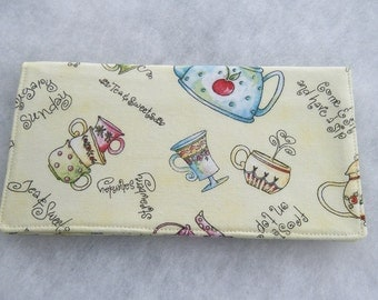Checkbook Cover - Tea Pots and cups