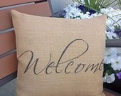 Welcome burlap pillow