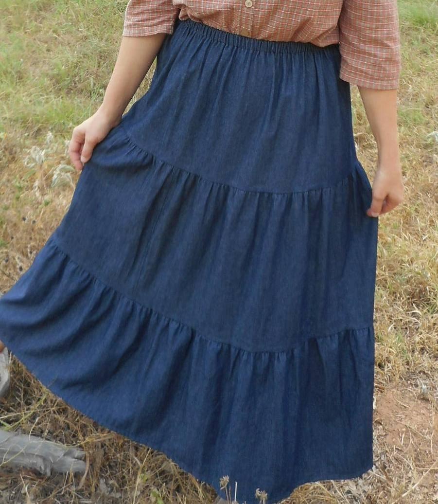 denim tiered skirt blue jean plus tier custom