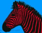 Zebra printable download poster africa wild nature childrens colourful print download pop art