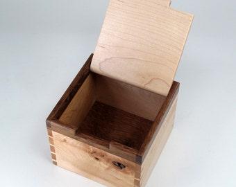 English Oak and Maple Keepsake Box, Jewelry Box, Valet