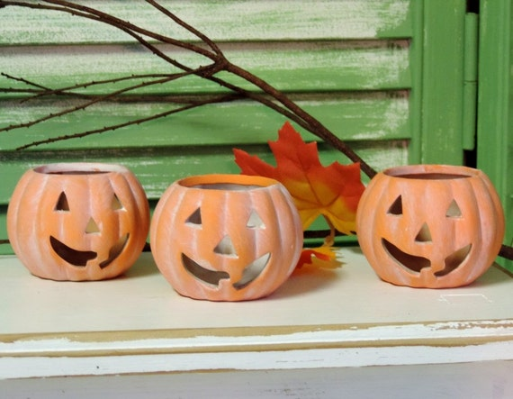 Whitewashed Halloween Pumpkin Terracotta Tea Light Candle Holders, Luminaries, Shabby Decor