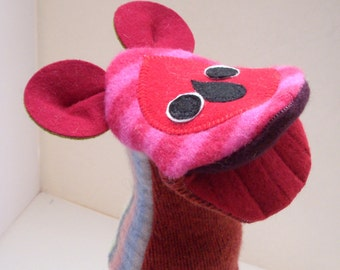 Handpuppet Bear named Jetta  made of seven recycled 100% wool sweaters