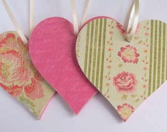 Summer floral hanging heart decorations, decoupage wood ornaments, pink green set of 3