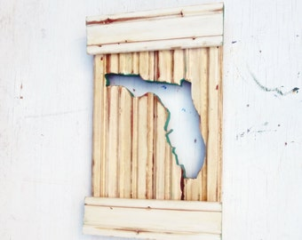 Florida Wall Art, Coastal Decor, Reclaimed Wood Art, Custom State Outline, Beach House Decor, Wood Wall Art, Florida Decor, Bohemian Decor