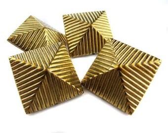 Huge Vintage Raw Brass Pyramid Stud Beads (4X) (V127)
