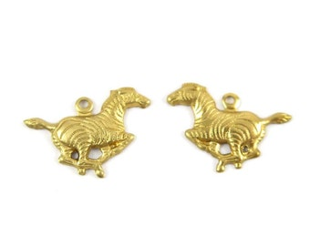 Raw Brass Zebra Charms - Left and Right Facing (8X) (M601)