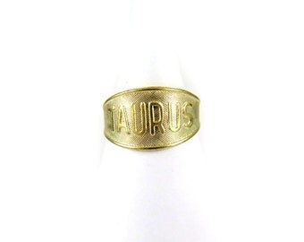 Raw Brass Astrological Sign Ring - TAURUS - one size fits most / adjustable (2x) (J623)