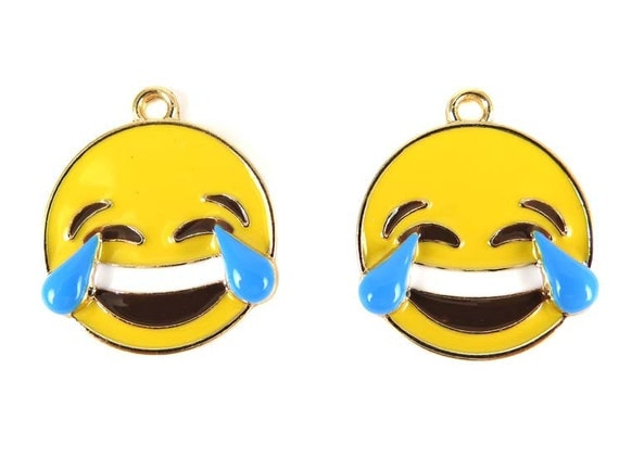 Gold Plated Laughing with Tears - Emoji Charms (2x) (K300-A)