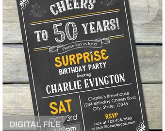 "Surprise 50th Birthday Invite Chalkboard Invitation Surprise Birthday Party Any Age - Digital Invite 5"" x 7"" Printable"