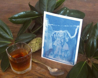 Eudora Welty - Archival print of cyanotype from an original portrait drawing - Edition of 30 - Version 4