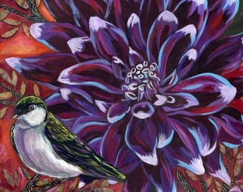 Violet Green Swallow with Dahlia 6x6 Archival Print on Wood