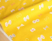 Japanese Fabric - butterfly ribbons canvas - yellow - fat quarter