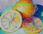 "Original Lemons Fruit Oil Painting 8""x10"""