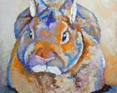"""Original Dwarf or Polish Rabbit Oil Painting 10""""x10"""" painted by me Sandra Spencer"""