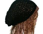 Hemp cotton beanie, black slouchy hat, very small Hippie Dread Tam, Snood hat, crochet summer beanie, woman black hat, man slouch hat, vegan