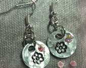 Tiny stamped flower earrings