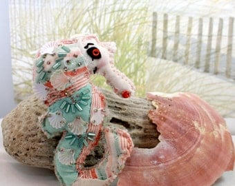 Sweety of the Sea - Seahorse Quilty Critter - OOAK, Folk Art, Novelty, Ornament