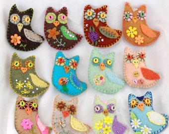 Mini Magnet Sachets - Felt Owl Quilty Critters filled with fresh fragrant balsam - any color