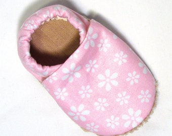 Pink Floral Soled Baby Shoes 0-6 mo