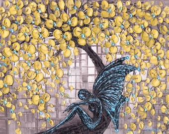 Abstract Goth Fairy Blue Yellow Cherry Blossom Tree Fine Art Giclee PRINT Home Decor Wall Art Gallery Wrap Canvas Contemporary Art ~Susanna