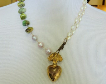 SALE 20% CODE:SALE2016 Huge victorian antique Ex-Voto Heart Bottle, Brass Hand Clasp, Freshwater Pearl, Opal Necklace