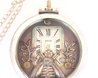 Bee Pocket ,  Silver Steampunk pocket watch case, Steampunk Pocket Watch Case Necklace, Victorian, Bee, One of  A Kind