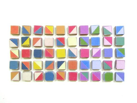PDF Vintage Paper Quilt Design Tiles - 5 Printable Color PDF Sheets - Print, Cut, Quilt Design. Paper Tiles. Quilt Blocks. Color Square Tile