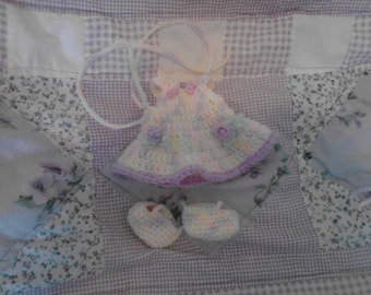 Pastel Variegated Ruffel Sleeved Drop Skirt Sundress For My 6.5in Curly Girl Dolls