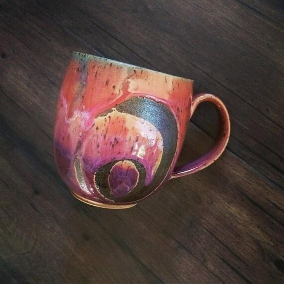 Sunset mug, coffee mug, tea cup, handmade pottery mug