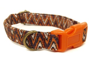 Halloween Chevron - Halloween Organic Cotton CAT Collar Breakaway Safety - Orange Purple Sparkly Chevron - All Antique Brass Hardware
