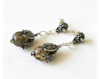 Boho tulip earrings silver, Victorian floral earrings, Amber glass earrings, Romantic elegant flower earrings