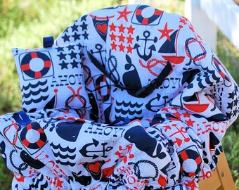 Shopping Cart Cover for Boy or Girls- Nautical Boutique Shopping Cart Cover- Ahoy Matey