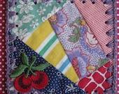 Cherry Patchwork / Crochet Vintage Quilt Block Ornament / Tag / Bookmark