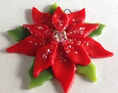 Fused Glass Christmas Ornament (Poinsettia in Red)