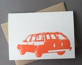 Chevy Station Wagon, single letterpress card
