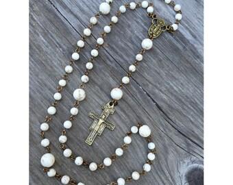 Bronze and White Turquoise Catholic 5-decade Rosary