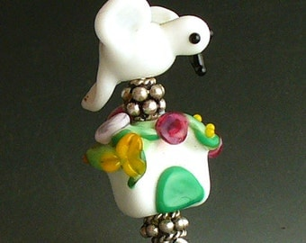 Lampwork Glass Beads by Catalinaglass SRA Birdhouse and Dove