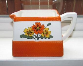 Vintage Orange and White Ceramic Rectangle Creamer Cream Pitcher with Orange and Yellow Flowers