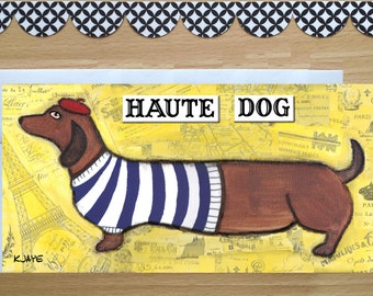 Doxie Goes French - Funny Dachshund Greeting Card