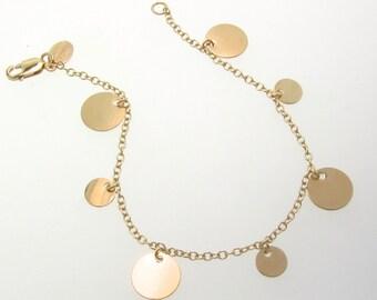 Gold Circles Charm Bracelet, 14K Gold Filled or Sterling Silver Dangle Coin Disc Bracelet
