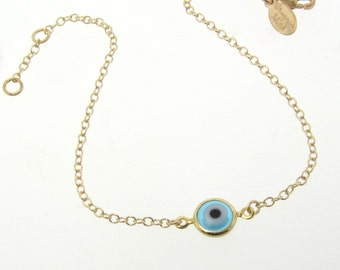 Gold Evil Eye Bracelet - 14K Gold Filled, Small and Dainty - Celebrity Style Jewelry