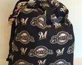 Flash Sale Milwaukee Brewers MLB Baseball Caffeine Buzz Drawstring project bag. No exposed seams. Zipper / velcro free.