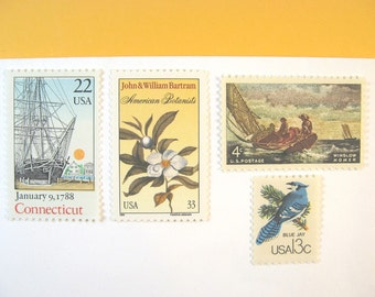 Connecticut Nautical Postage, Floral Vintage Sailing Stamps, Mail 20 Wedding Invitations, 71 cents postage 2 oz. Vintage Ship, Blue Jay Duck