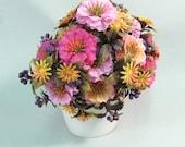 Vintage 1960s plastic flowers, flower bouquet, magenta neon pink orange, wedding decor, crafts